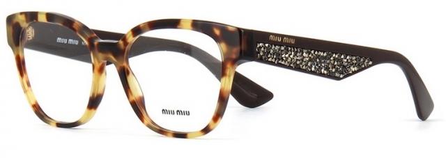 d02c4fa977e98 Óculos de grau Miu Miu Pavé Story 06OV Havana Amarelo