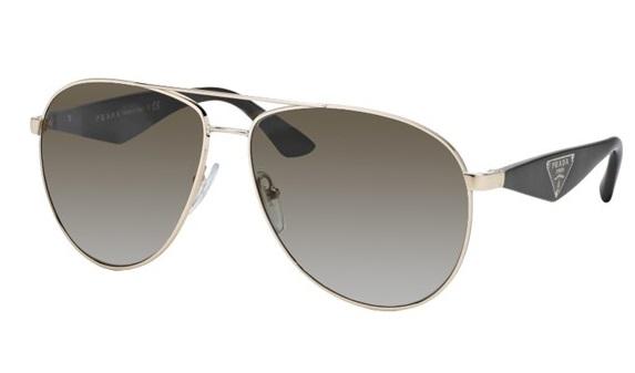 f4f26ba7a3af0 Óculos de sol Prada Aviador 53QS Dourado Fumê