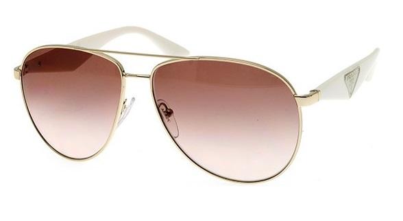 df0fd2fd71c7a Óculos de sol Prada Aviador 53QS Dourado Marrom