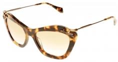 96edaedcb8207 Óculos de sol Miu Miu Cyclamen 03PS Havana Amarelo